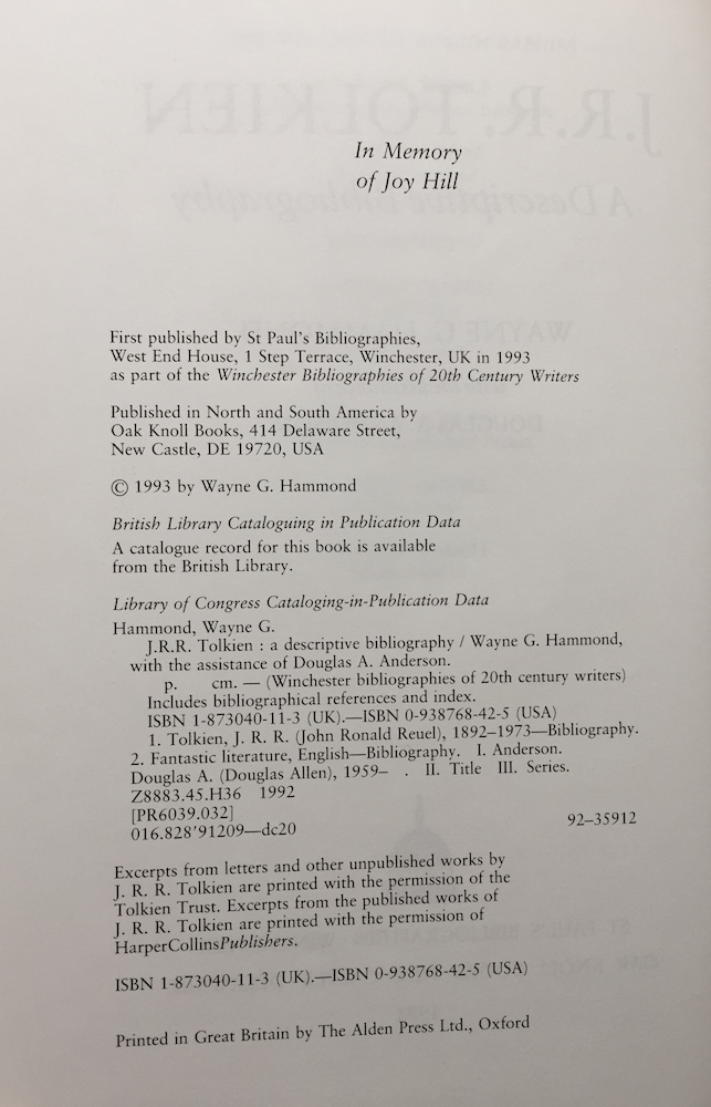 Jrr tolkien a descriptive bibliography tolkienbooks 1st printing january 21 ccuart Images
